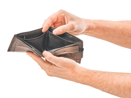 Photo pour Man hand hold the wallet isolated on white background - image libre de droit
