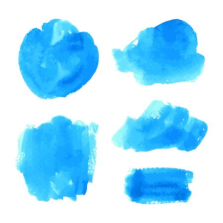 Illustration pour Set of vector navy, turquoise blue watercolor hand painted texture backgrounds isolated on white. Abstract collection of fluid ink, acrylic pours, dry brush strokes, stains, spots, blots, elements. - image libre de droit