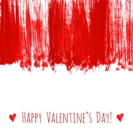 Illustration for Happy Valentine's day! Red watercolor hand drawn vector texture frame backdrop with heart for greeting card design. Painted illustration romantic wallpaper, wedding background. Place for text . - Royalty Free Image