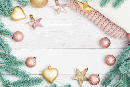 Photo pour Merry Christmas joy toys background. Happy New Year composition! Flat lay. Copy space. Winter holidays and vacations concept. Christmastime celebration. Xmas mock up. Greeting card template - image libre de droit