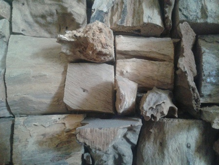 Wood chunks stacked together.