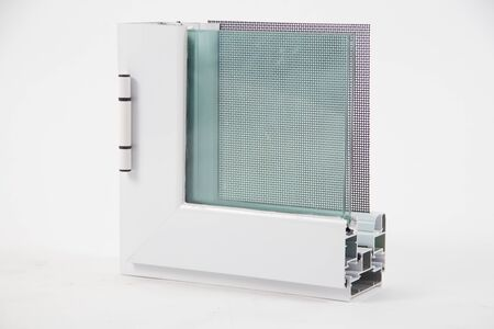 Photo for Cut of the window profile with metal, glass and insulation - Royalty Free Image