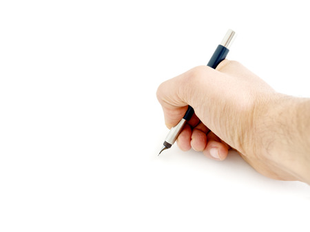 Male hand writing and holding a blue pen isolated on a white background