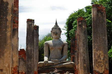 ancient buddha statue in Wat Mahathat, Sankhaburi, Chai nat, Thailand