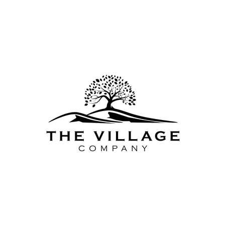 Illustration pour hill with tree logo design inspiration - image libre de droit