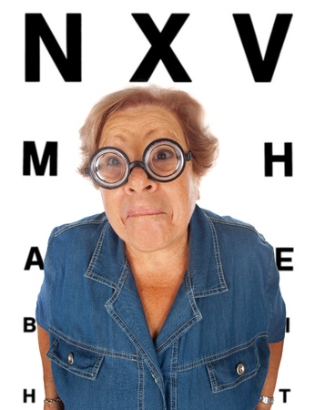 Elderly woman withtable for eye exam
