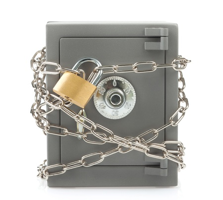Metal safe with chain and padlock