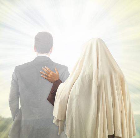 Jesus Christ accompanies the soul of a man towards the Kingdom of Heaven