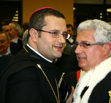 CASSINO, FR, ITALY - 20 FEBRUARY, 2008: Pietro Vittorelli, former abbot of the Abbey of Montecassino, with the rector Paolo Vigo at the inauguration of the academic year 2008 at the University of Cassino.
