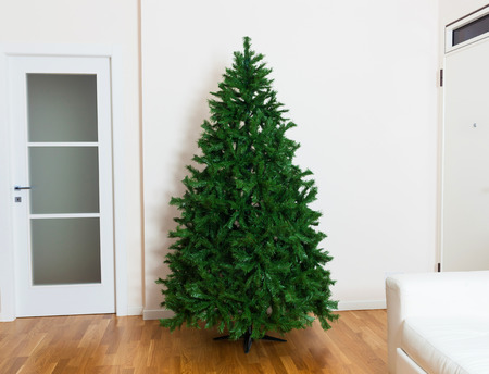 Photo for Bare artificial christmas tree in house with white furnishings and oak parquet flooring. - Royalty Free Image
