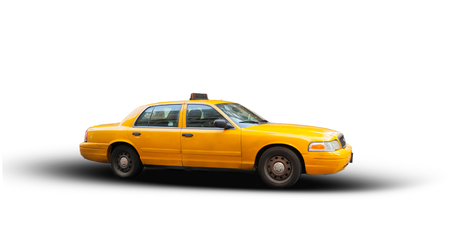 Yellow cab isolated on white background. The taxicabs of New York City are widely recognized icons of the city.