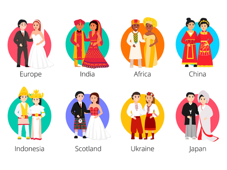Illustration pour Local weddings collection with the bride and groom wearing traditional dress and engaging in local customs. Vector set of Wedding couples in traditional clothes. Different weddings vector illustration - image libre de droit