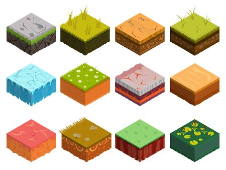 Illustration for Isometric Soil Layers diagram. Cross section of green grass and underground soil layers beneath. The stratum of organic, minerals, sand, clay. Isometric soil layers with top layer of green grass, ice - Royalty Free Image
