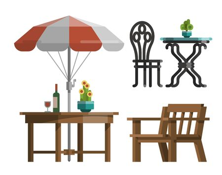 Illustration pour Modern garden design furniture set. Sunshade umbrella and different types of tables and chairs. BBQ grill, garden lantern and decorative trees. Flat style vector isolated on white background. - image libre de droit