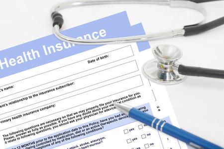 Photo pour Health insurance form with stethoscope. Blank medical questionnaire. Health insurance concept. - image libre de droit