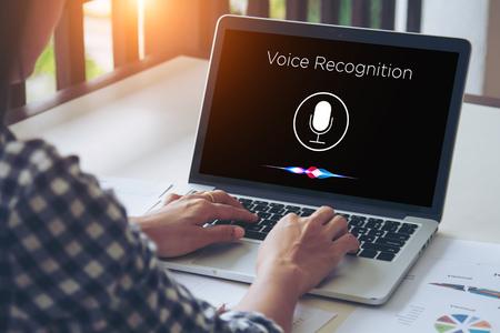 Photo pour Voice recognition, Speech detect and deep learning concept. Application on mobile device screen. - image libre de droit