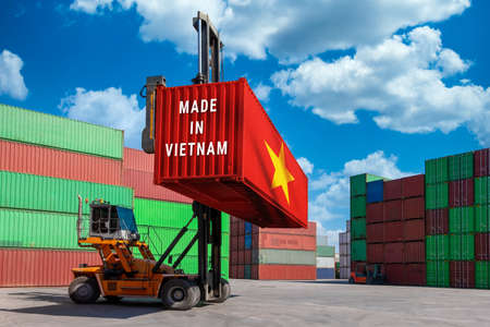 Photo for Trade war, Made in USA smart logistic concept. Shipping Cargo business Container import and export company for Logistics and Transportation. Factory move from USA. - Royalty Free Image