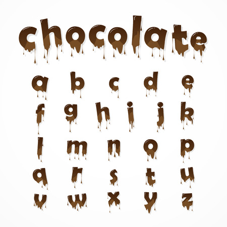 Illustration pour Melted chocolate alphabet over white background.  Lowercase letters. 26 small letters of english alphabet - image libre de droit