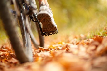 Foto de foot on pedal of bicycle in park, active summer - Imagen libre de derechos