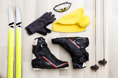 Photo for Photo of skis, sticks, caps, glasses, shoes - Royalty Free Image