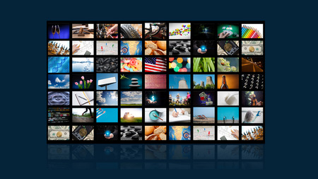 Photo for TV screen with lot of pictures . - Royalty Free Image