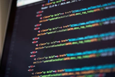 Photo for Programming code abstract background of software developer. - Royalty Free Image