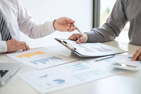 Foto de Business team partner on meeting brainstorming in investment ideas marketing planning project and presentation finance and strategy of business making to successful and development growth profit. - Imagen libre de derechos