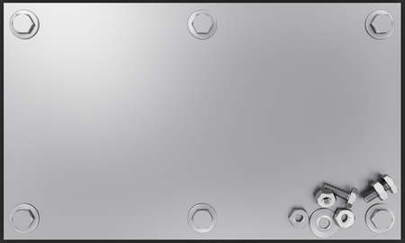 Photo pour The silver metal plate has bolts and nuts attached to the corners. Nut and bolts placed on a silver metal plate. 3D Rendering - image libre de droit