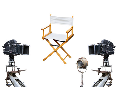 Photo pour Film director chair or movie film industry of concept on isolated white background - image libre de droit