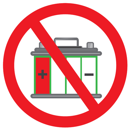 Vektor für NO car battery out of power sign symbol or Car battery is almost flat with simple vector design - Car battery out of power of concept - Lizenzfreies Bild