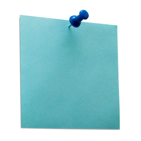A blue post it note with spin