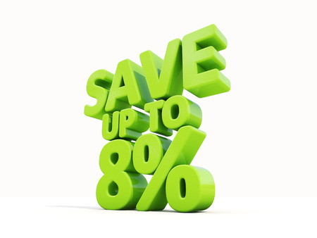The phrase Save up to 8% on %u0430 white