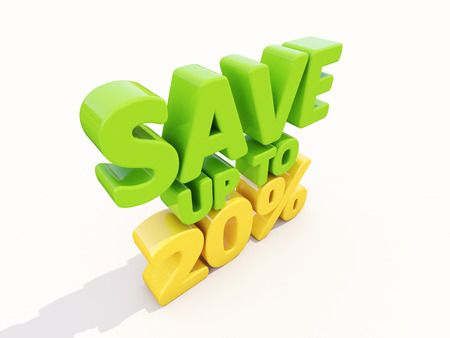 The phrase Save up to 20% on �° white background