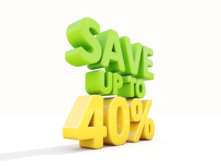 The phrase Save up to 40% on �° white background