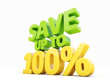 The phrase Save up to 100% on �° white background