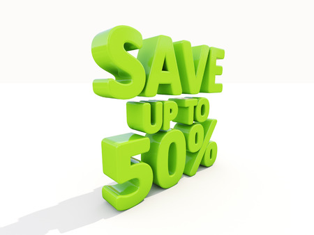 The phrase Save up to 50% on �° white background