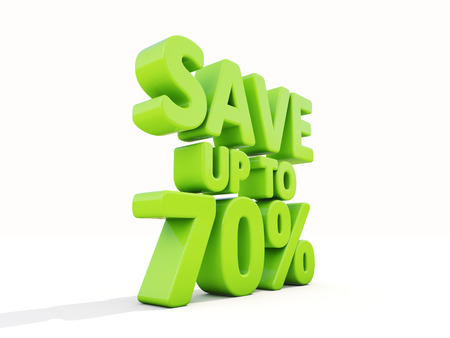 The phrase Save up to 70% on �° white background