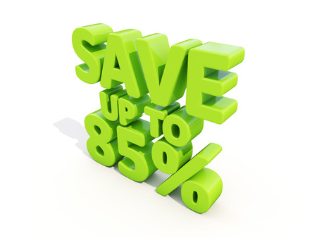 The phrase Save up to 85% on �° white background