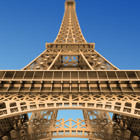 Wide-angle view of the Eiffel Tower, Paris, France. Looking upwards from the base of the tower