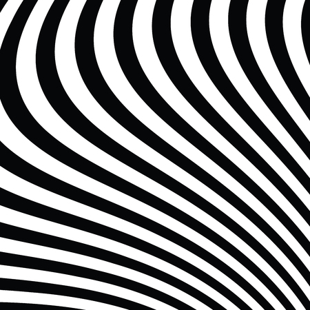 Abstract vector background of waves, optical illusion. Black and white line art, wave icon. Optical art background, wave design, abstract lines. Modern striped background.
