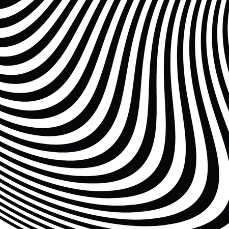 Abstract Vector Background of Waves, Optical Illusion, Black and White Line Art, Wave Icon, Optical Art Background, Wave Design, Abstract Lines, Modern Striped Background.