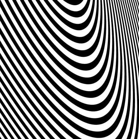 Abstract vector background of waves, optical illusion. Black and white line art, wave icon. Optical art background, wave design, abstract lines. Modern striped background, zebra strip.
