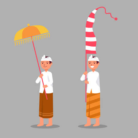 Illustration for Balinese girl on hindu ritual parade to the beach to perform  purification ceremony. Suitable for hinduism theme. - Royalty Free Image