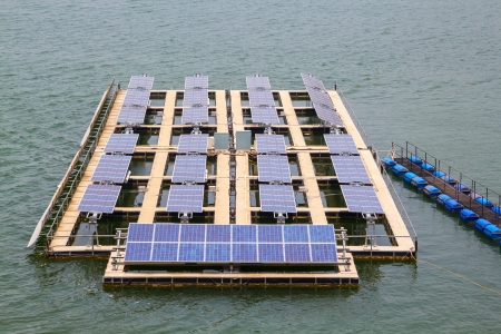 Solar power plant in the water.