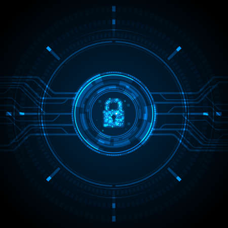 Illustration for Blue light data lock icon and circle circuit digital on dark background cyber security technology concept - Royalty Free Image