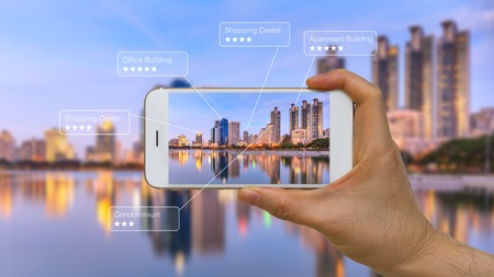 Photo pour Augmented Reality or AR App on Smart Device Screen - image libre de droit