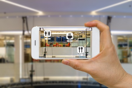 Application of Augmented Reality or AR for Navigation Concept in Mall Looking for Coffee Shop, Restaurant, and Restroom