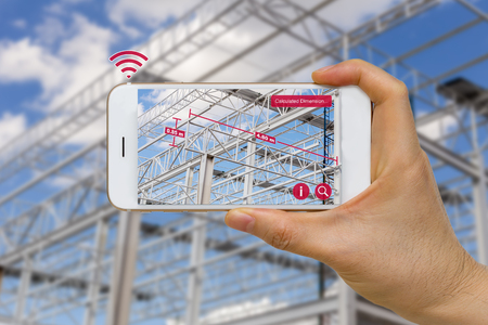 Photo pour Application of Augmented Reality in Construction Industry Concept Measuring Dimension of Steel Structure - image libre de droit