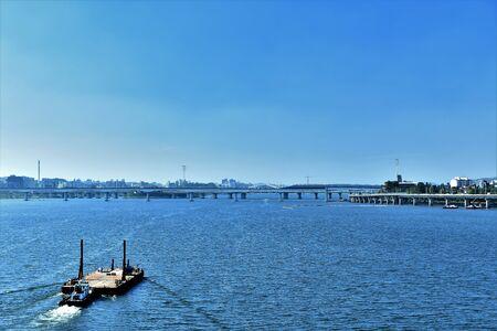 Forward naahganeun boat and blue sky