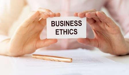 Photo pour Business ethics inscription. Concept of corporate professional moral principles. - image libre de droit